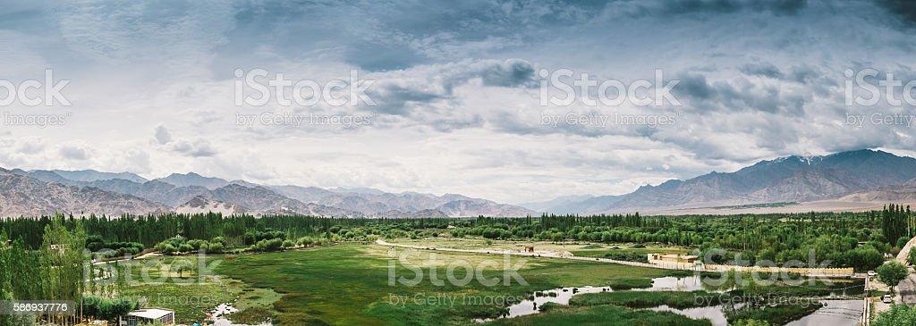 leh ladakh grassland panorama landscape stock photo