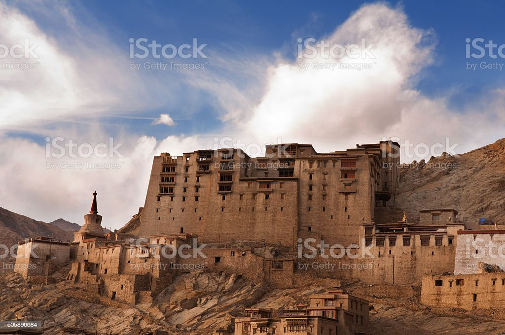 Leh Monastery looming over medieval city of Leh, ladakh stock photo