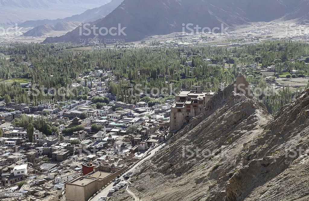 Leh Palace a view from Tsemo monastery stock photo