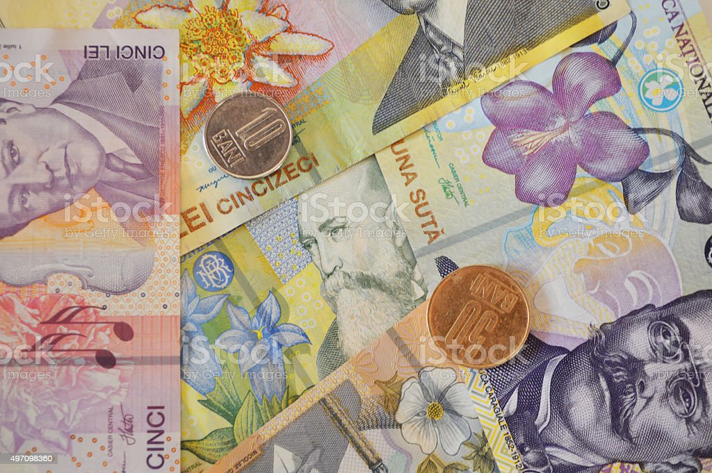 Leu rumano billete de banco de moneda de fondo y moneda foto de stock libre de derechos