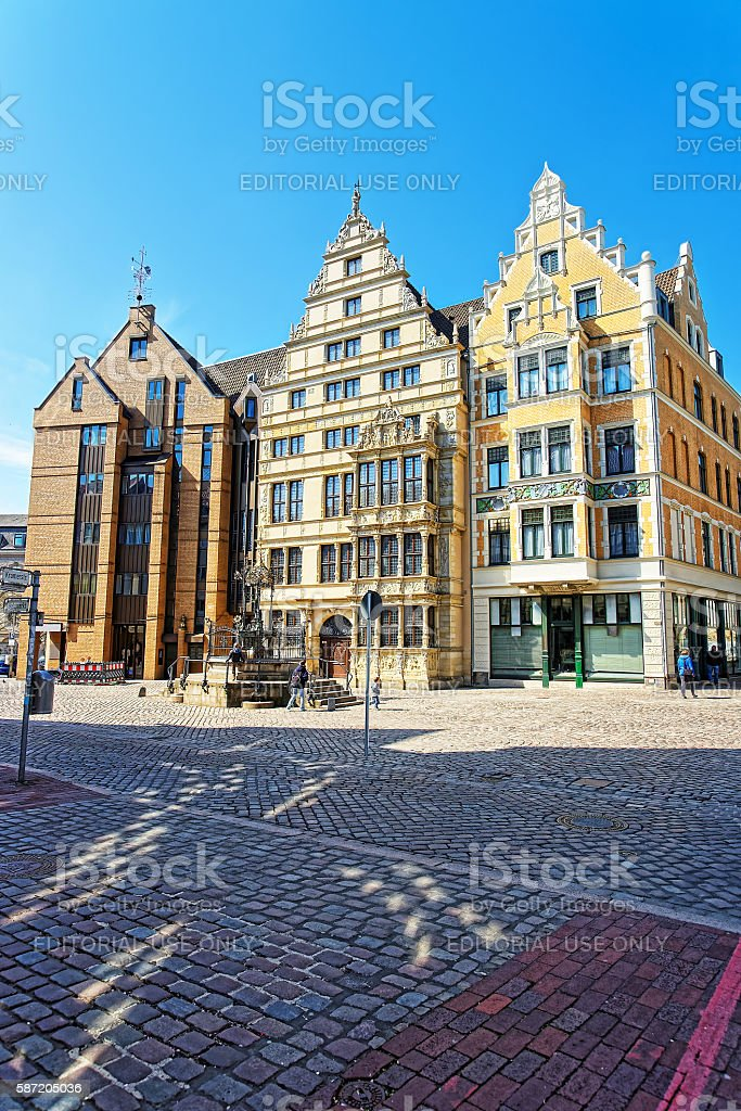 Leibniz house and fountain on Wooden Market Square stock photo