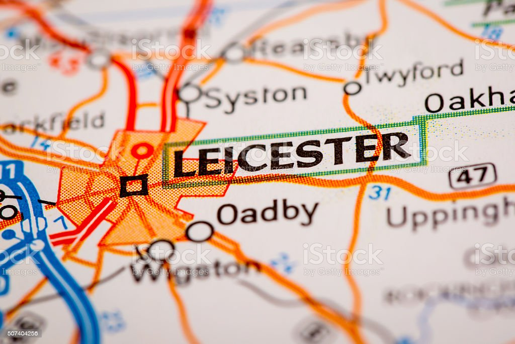 Leicester City on a Road Map stock photo