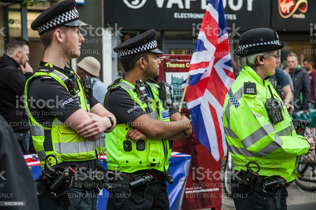 Leicester Police at a Demonstration stock photo