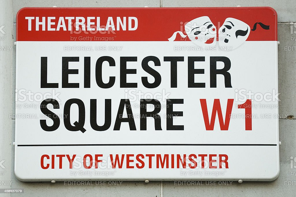 Leicester Square London Street Sign stock photo