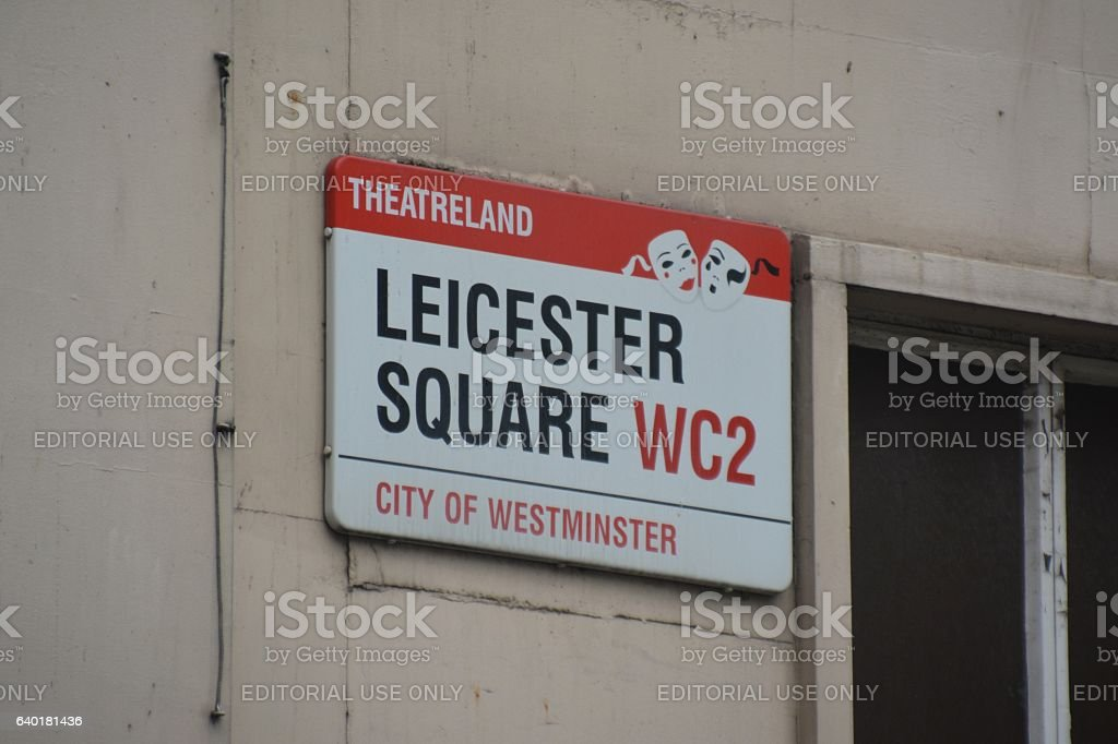 Leicester Square road sign, London, UK stock photo
