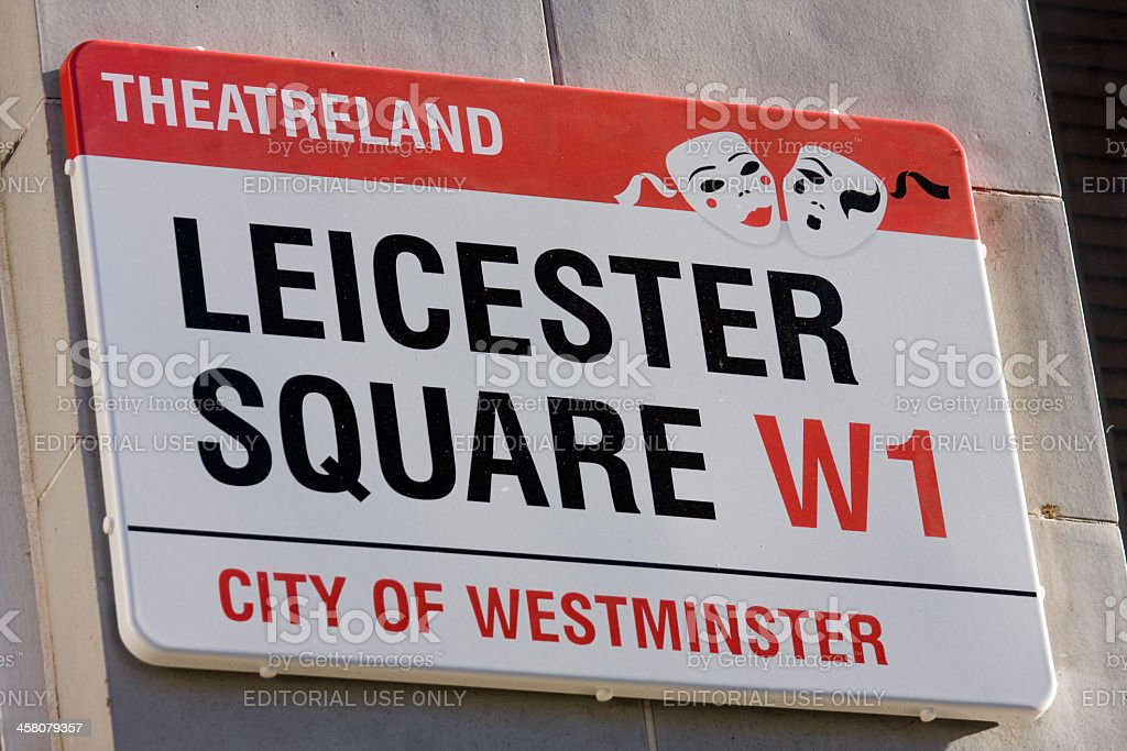 Leicester Square Street Sign, London stock photo