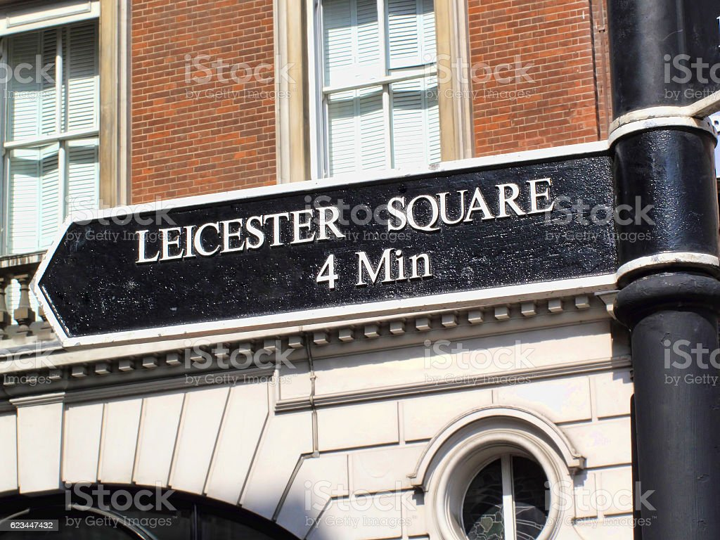 Leicester Square street signpost stock photo