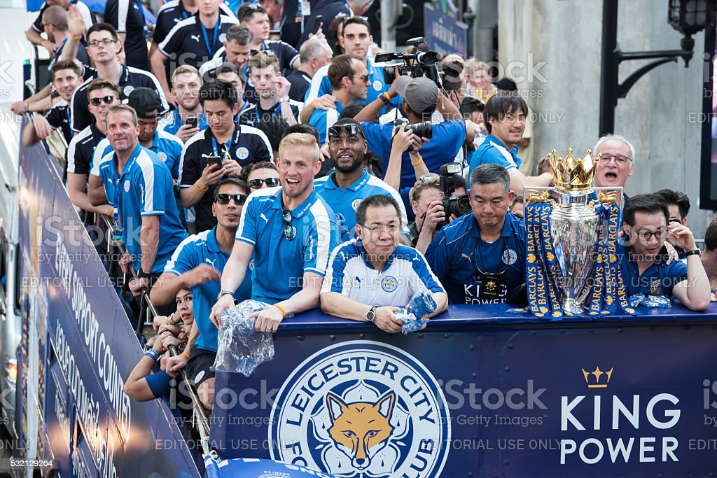 LeicesterCity celebrates Championship of English Premiere League in Thailand stock photo