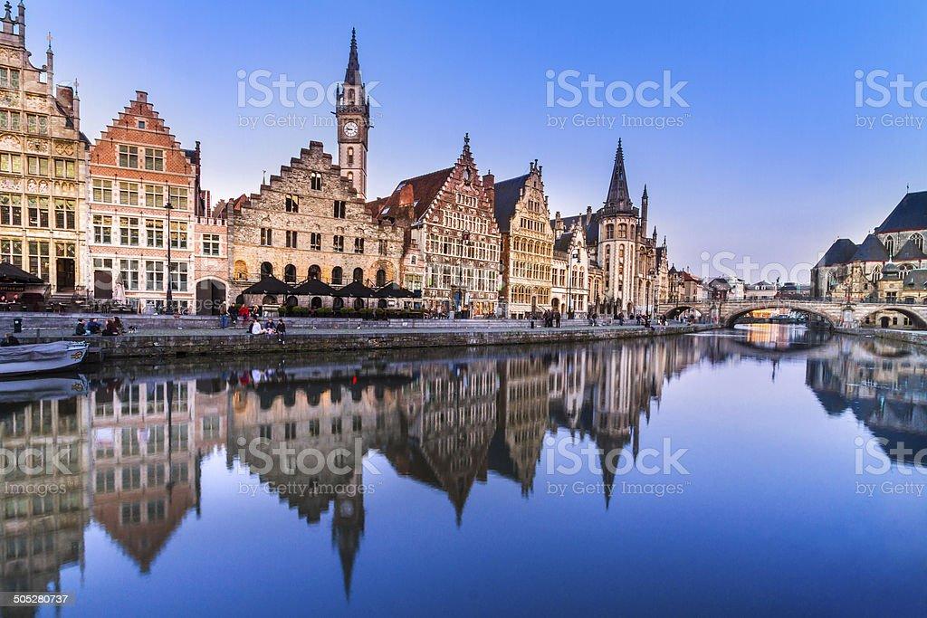Leie river bank in Ghent, Belgium, Europe. stock photo