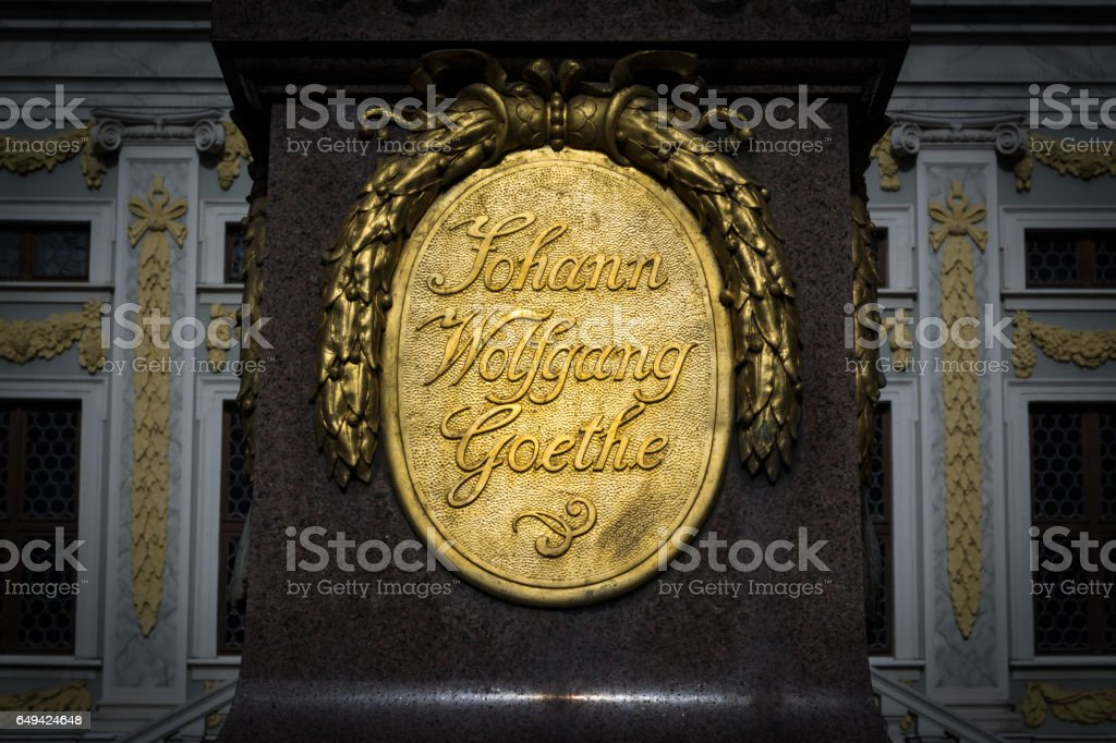 Leipzig Alte Boerse Goethe Monument Architecture Historical Figure Statue Author Famous Tourism Travel Closeup Name Building stock photo