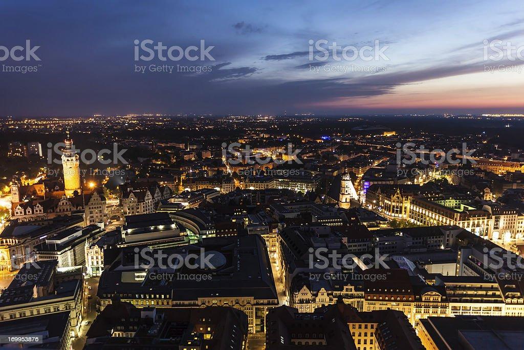 Leipzig by night royalty-free stock photo