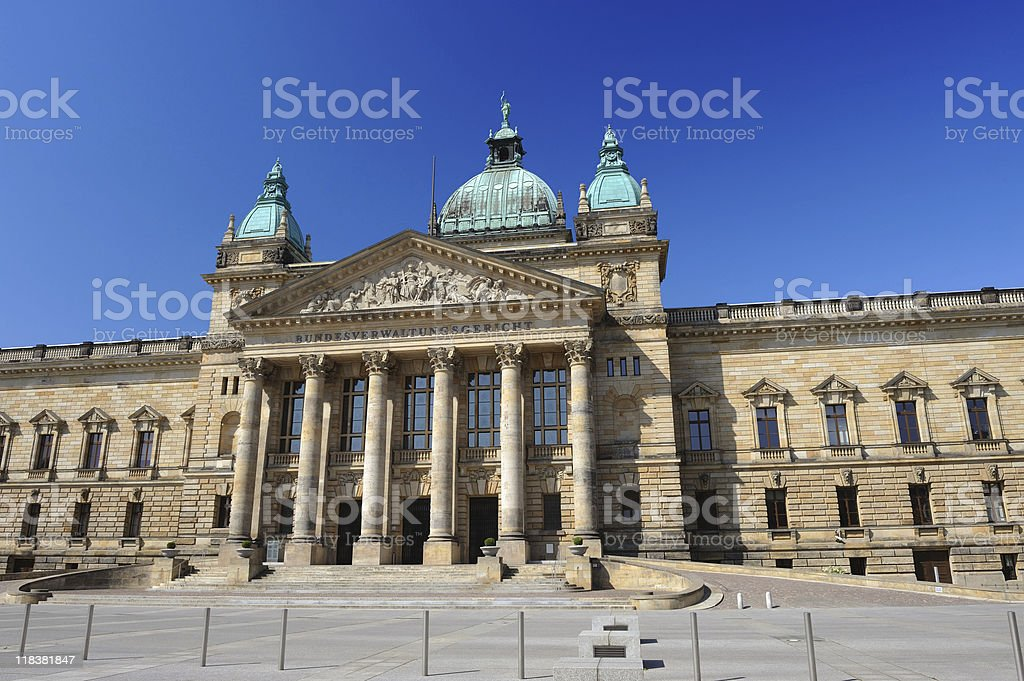 Leipzig German Federal Administrative Court Front View Summer stock photo