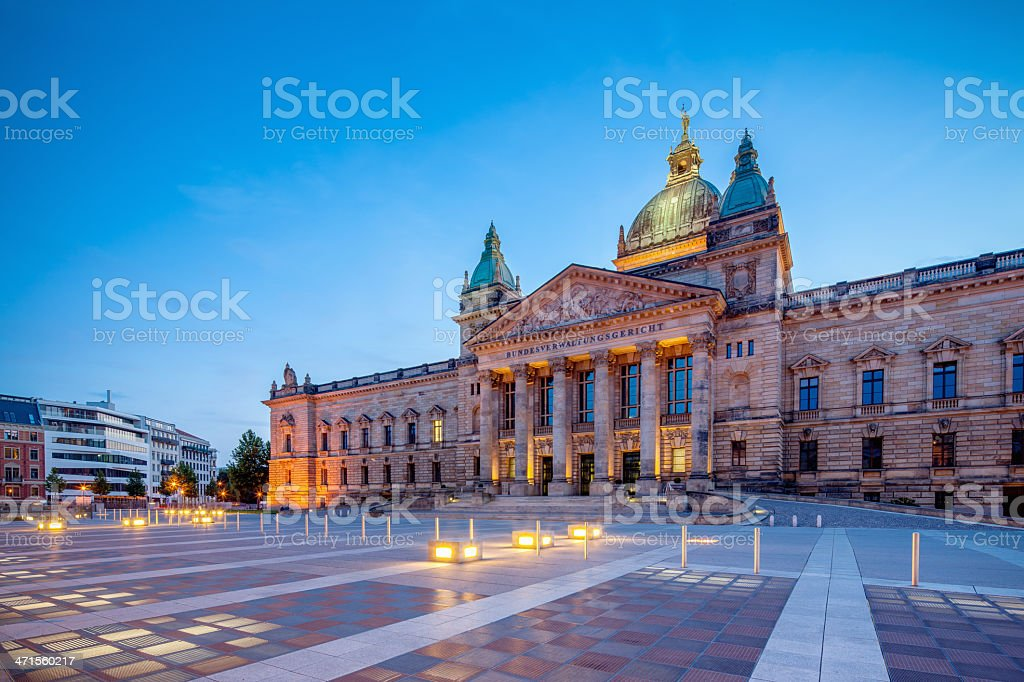 Leipzig Germany Supreme Court Building at Night stock photo
