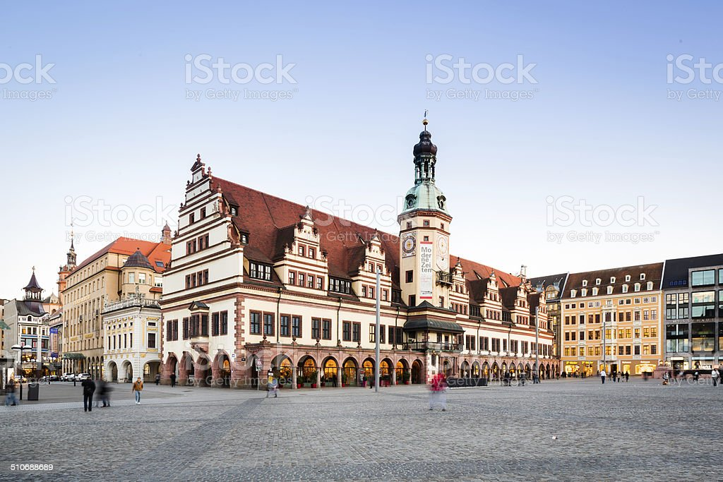 Leipzig, Market And Old Town Hall stock photo