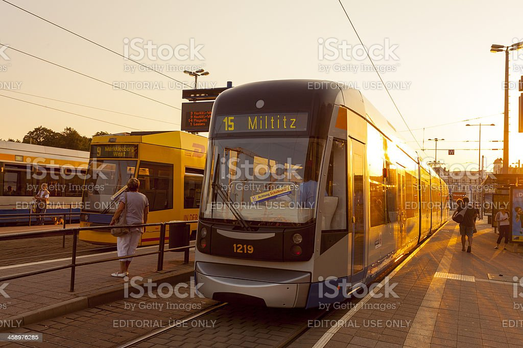 Leipzig Tram stop royalty-free stock photo