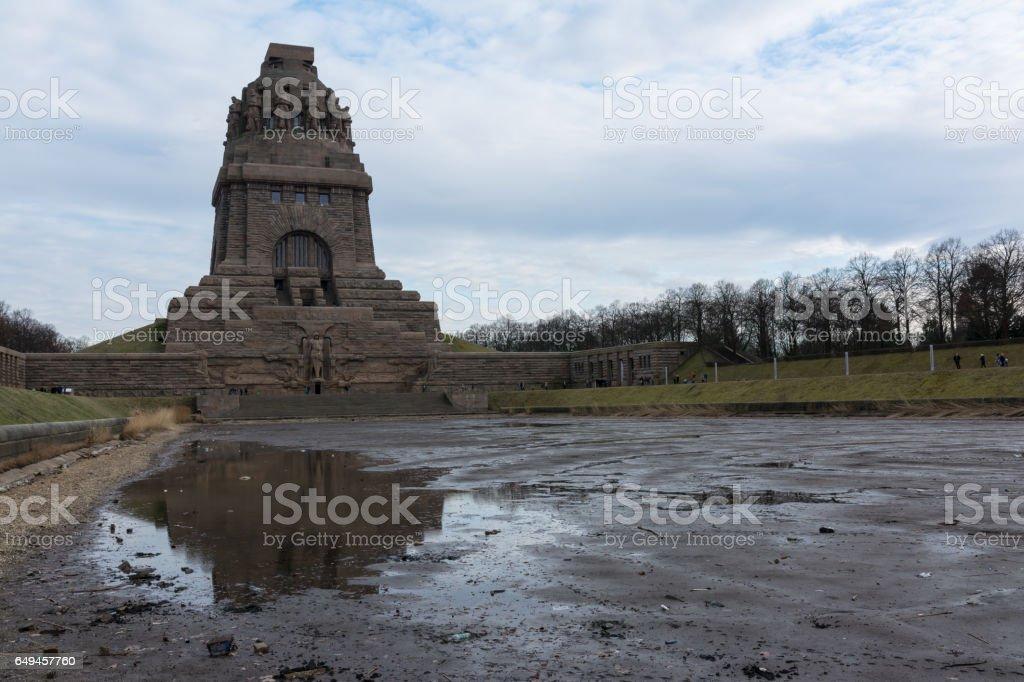 Leipzig Voelkerschlachtdenkmal Monument Battle Military Tower Destination Sights City Germany European Architecture Entrance Front See der Traenen stock photo
