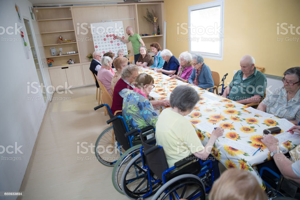 Leisure Activity - Bingo For Seniors In The Retirement Community stock photo