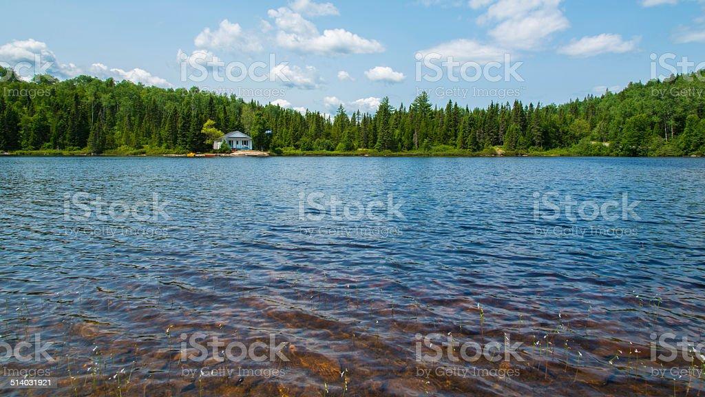 Leisure camp, House, Lake, Cottage, Log Cabin stock photo