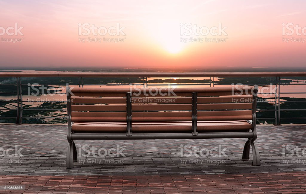 leisure Chair outdoors and sunset stock photo