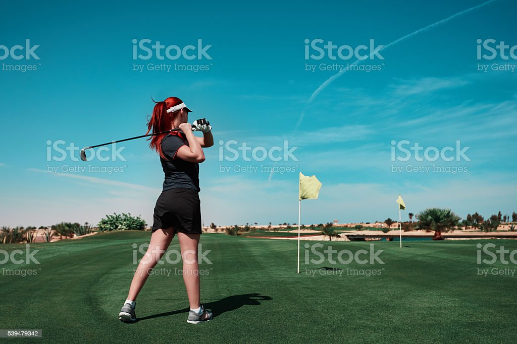 leisure golf game in summer day stock photo