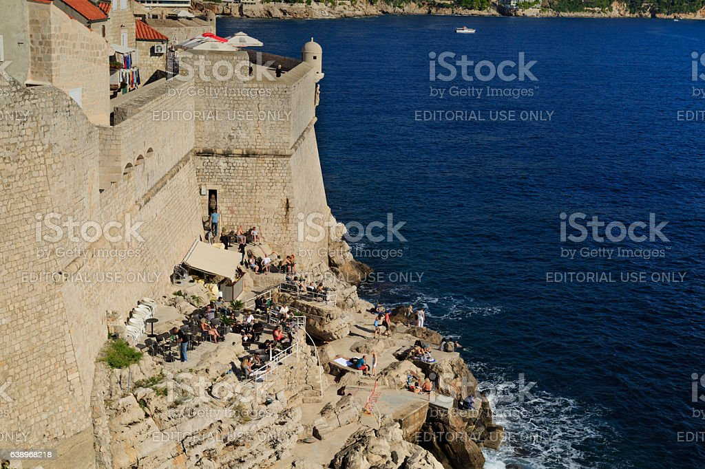 leisure  on the cliffs of Dubrovnik stock photo