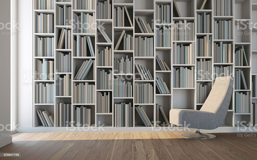 Leisure room with armchair and library stock photo