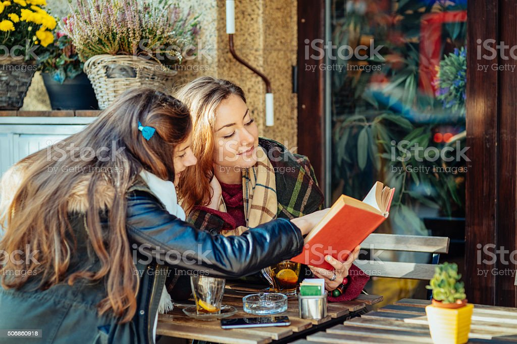 Leisure time in a cafe stock photo