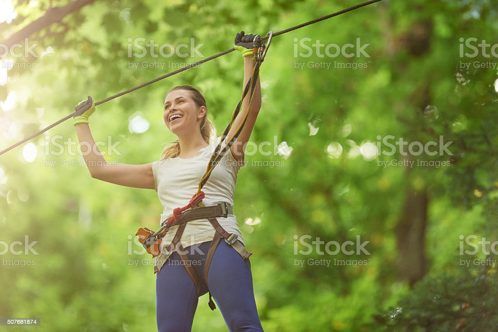 leisure time in adventure park stock photo