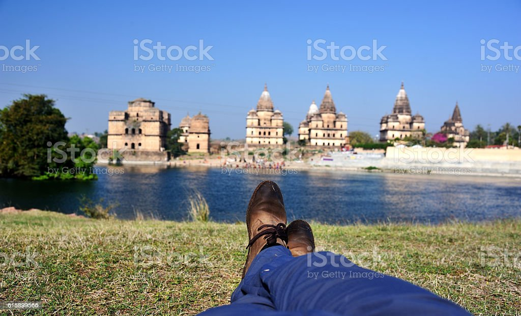 leisure time on the lawn stock photo