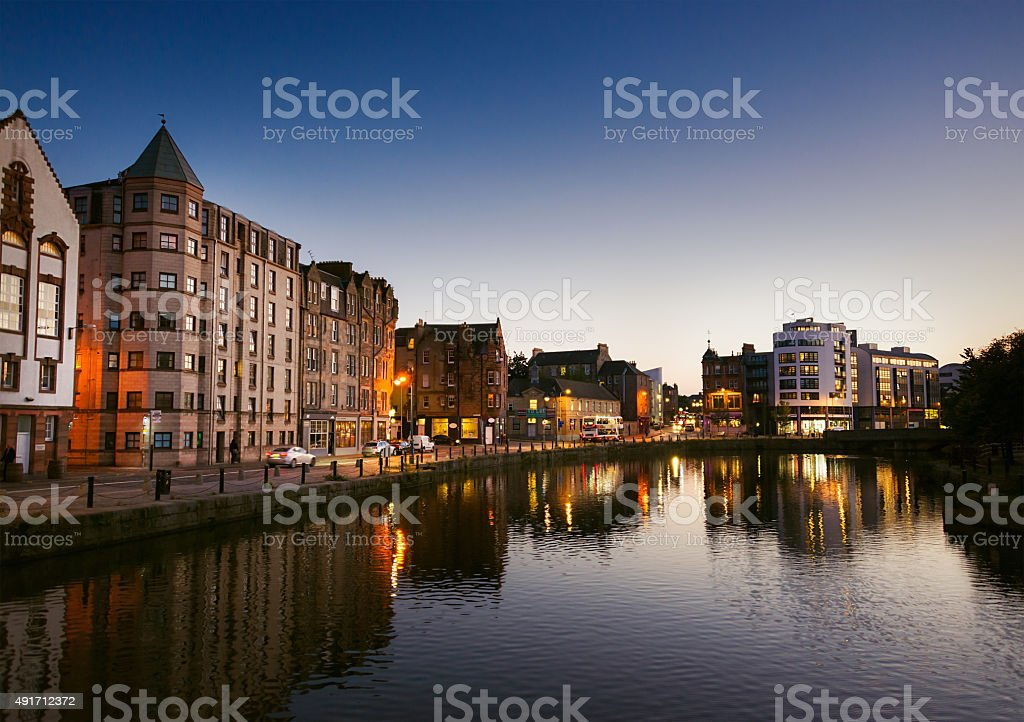 Leith waterfront at dusk stock photo