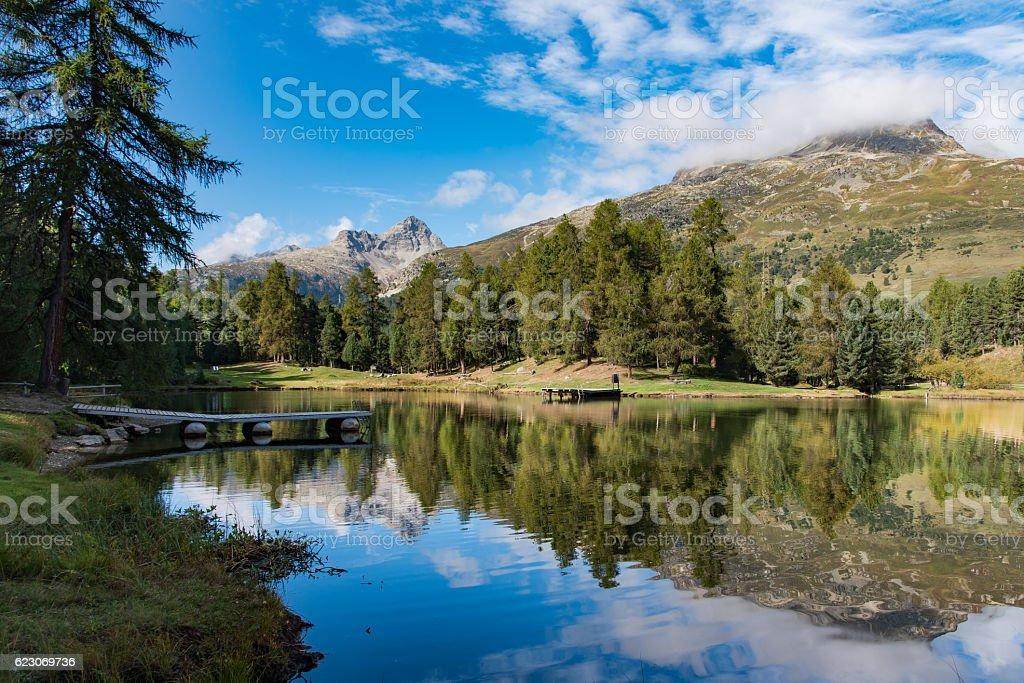 Lej Marsch (alpine lake) stock photo