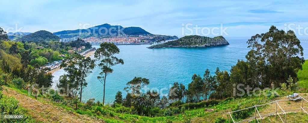 Lekeitio town coastline, Biscay, Spain. stock photo