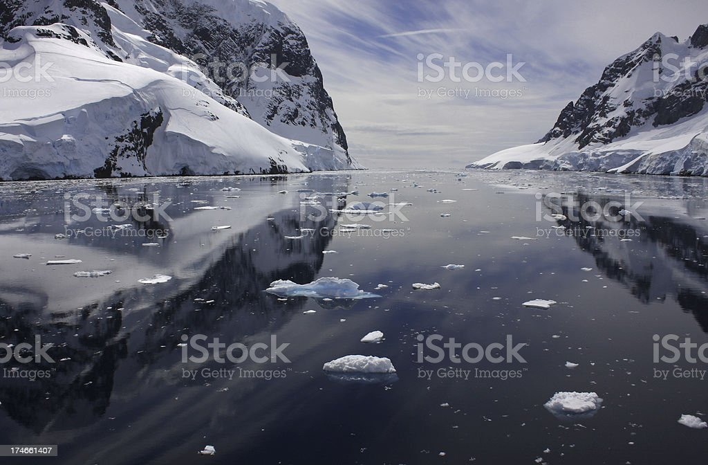 Lemaire Channel Antarctica Mountains in Calm Seas stock photo