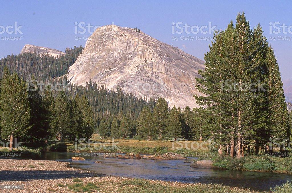 Lembert Dome and Tuolumne River Yosemite National Park California stock photo