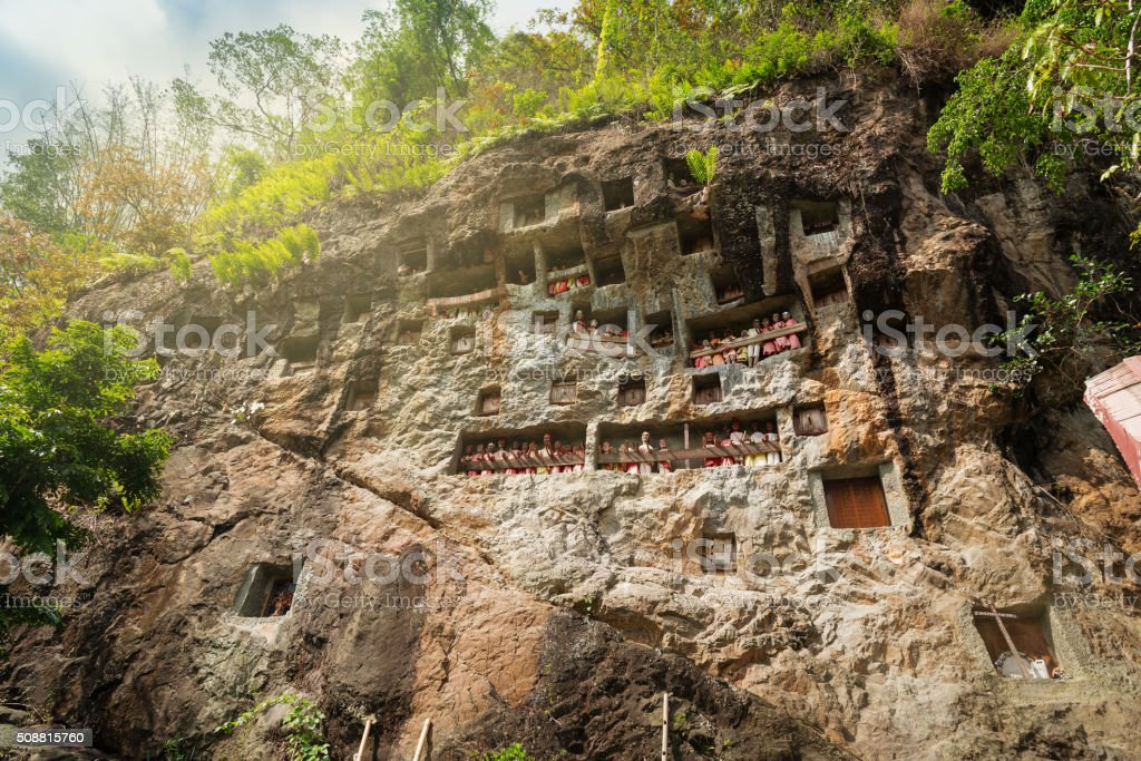 Lemo is cliffs burial site in Tana Toraja stock photo