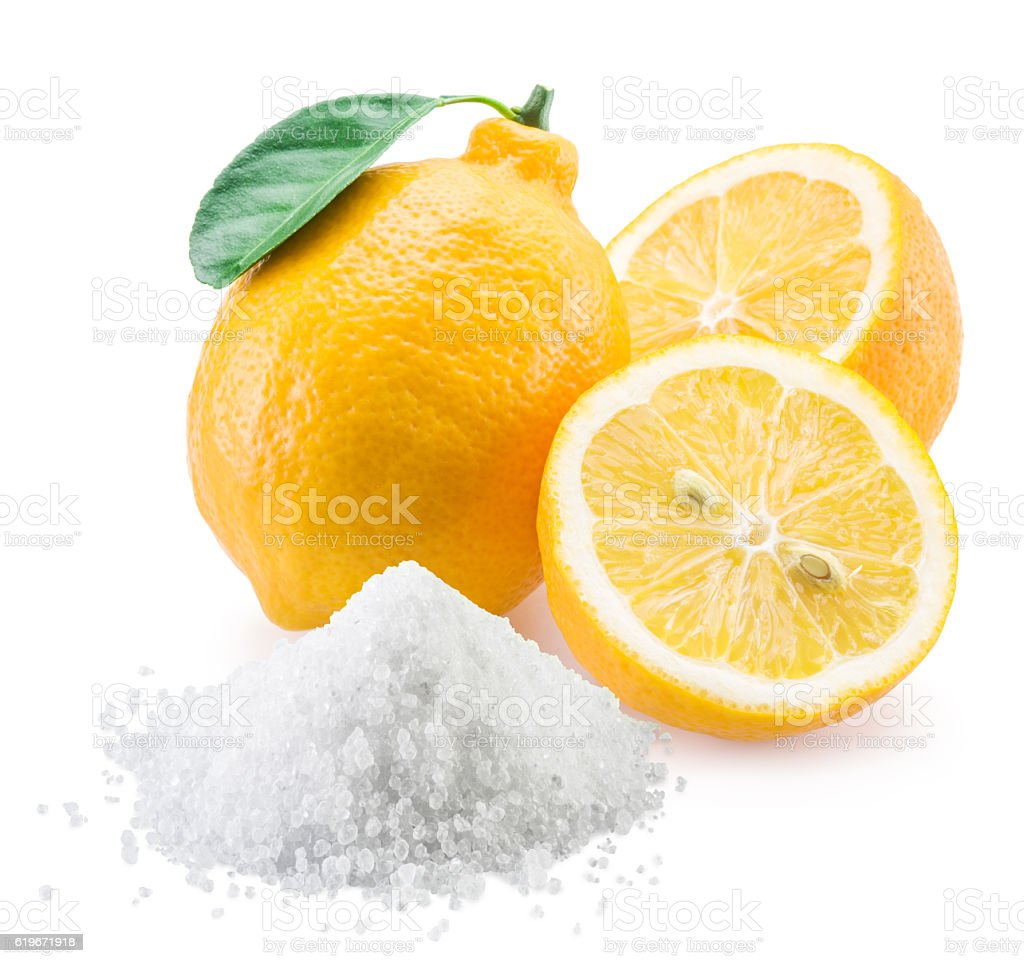 Lemon acid and lemon fruits. stock photo