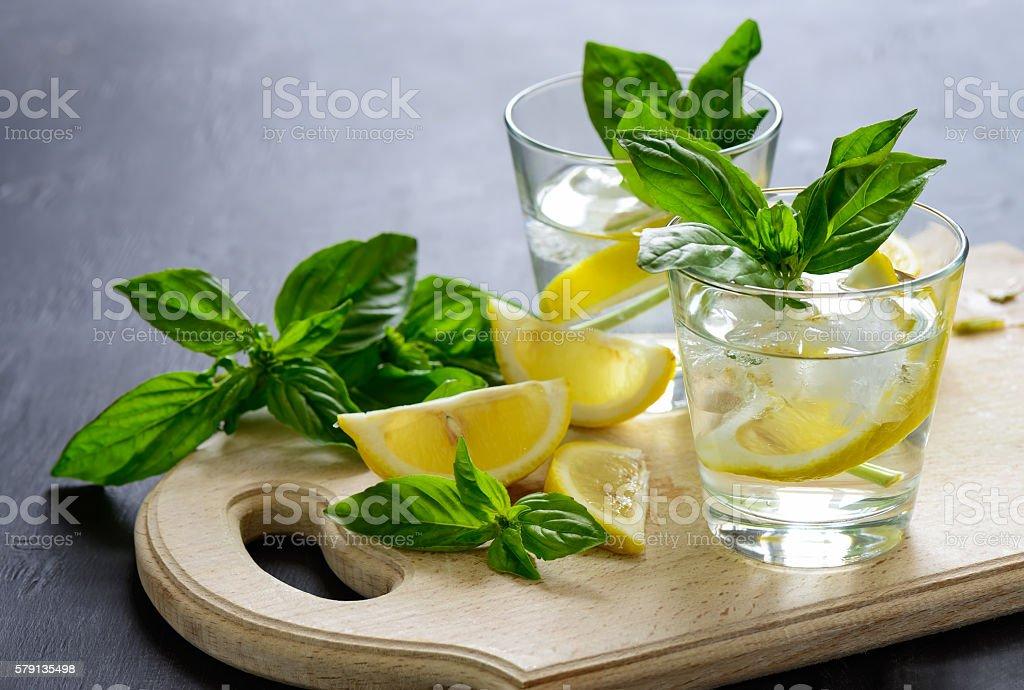 Lemon and basil drink stock photo