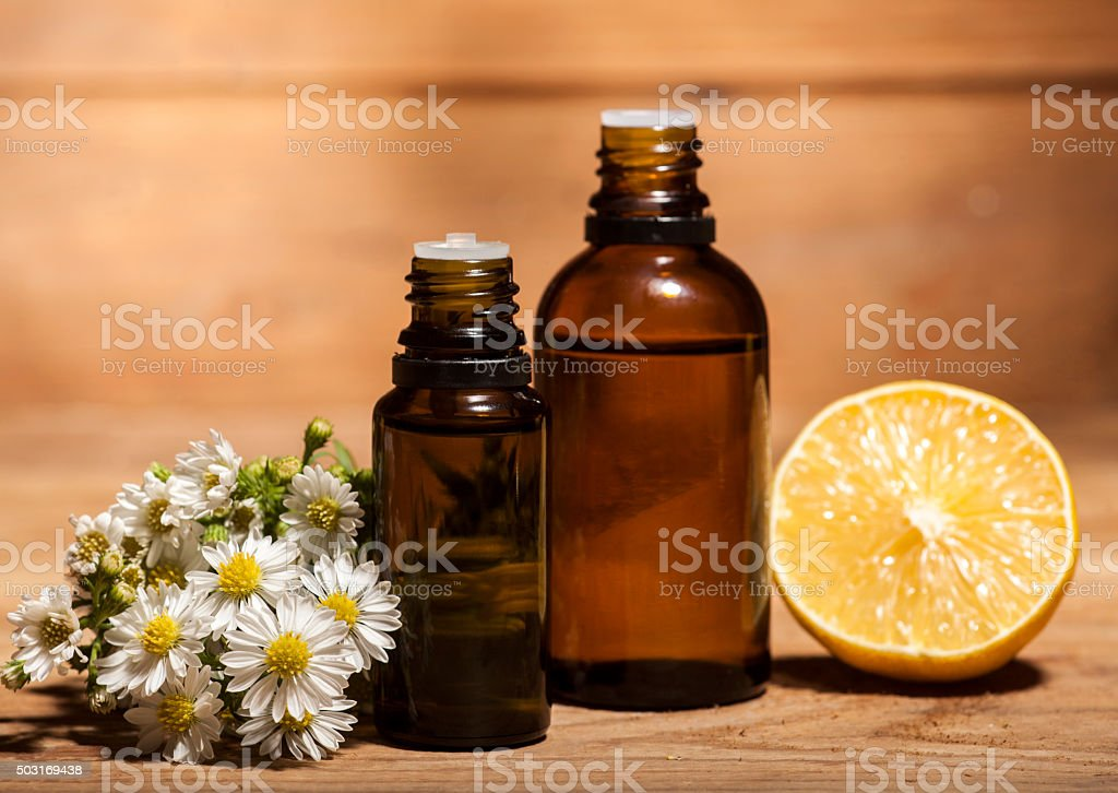 Lemon and Chamomile Essential Oil stock photo