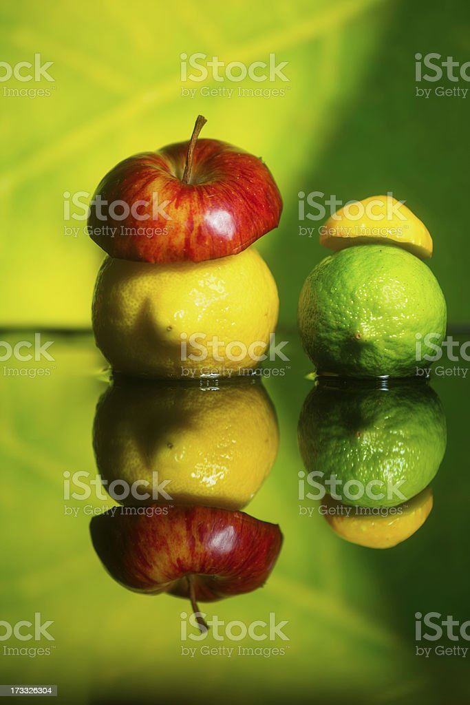 lemon and lime wearing fruit hats royalty-free stock photo