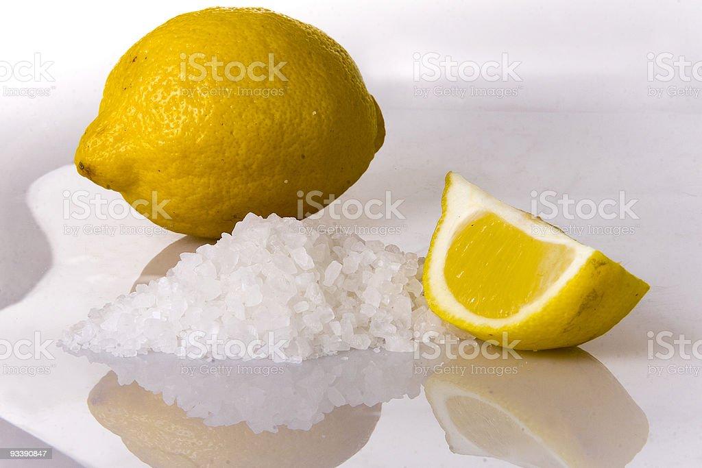 Lemon and salt stock photo