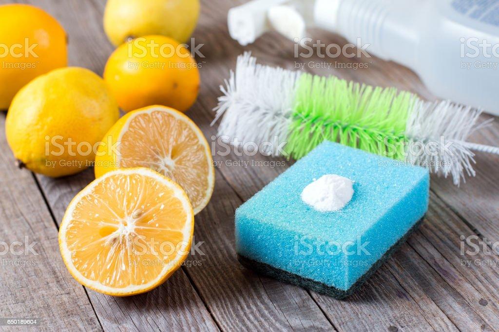 lemon and sodium bicarbonate stock photo