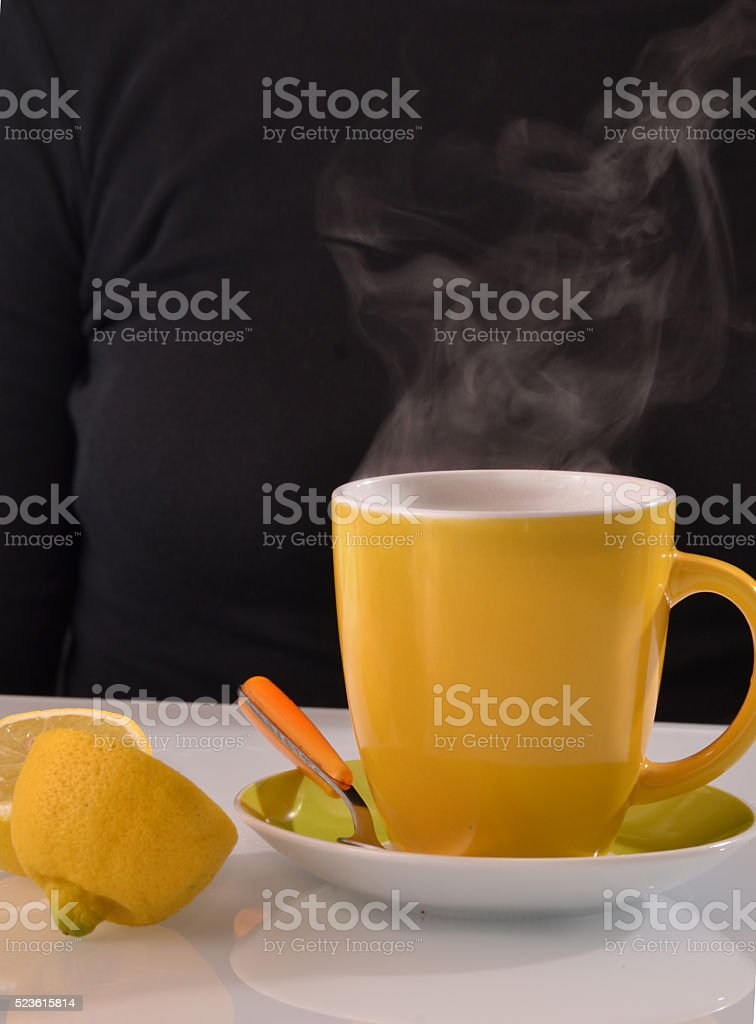 Lemon and tea stock photo