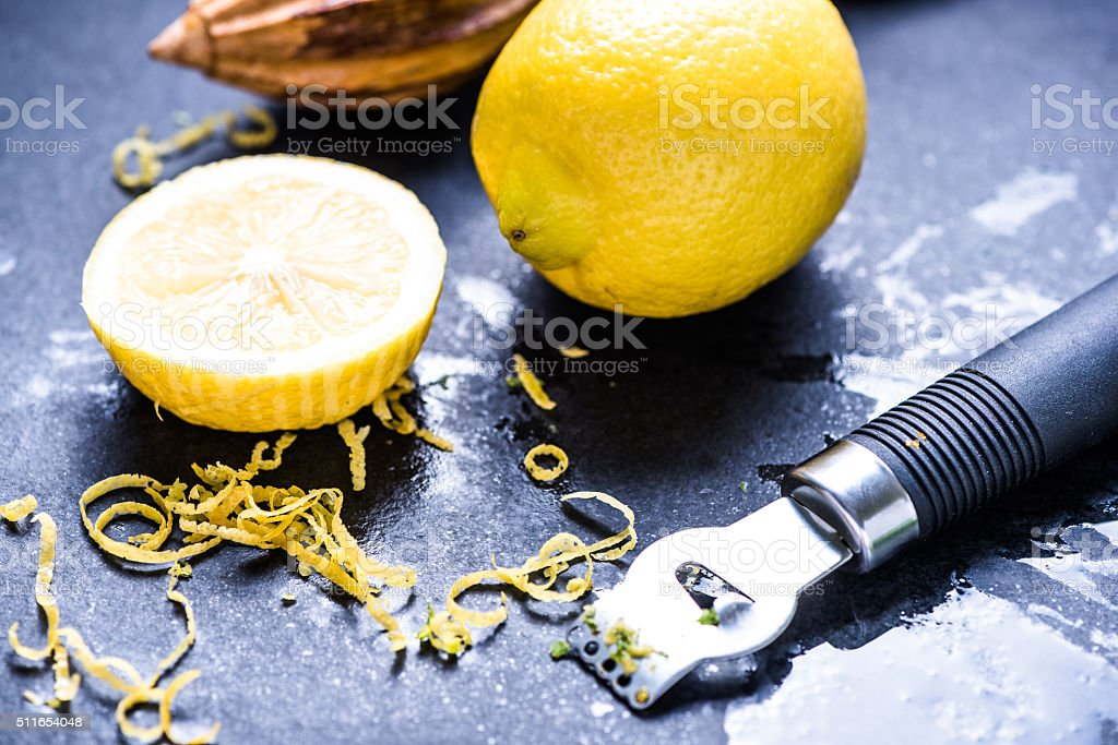Lemon and zest, natural refreshing ingredients stock photo