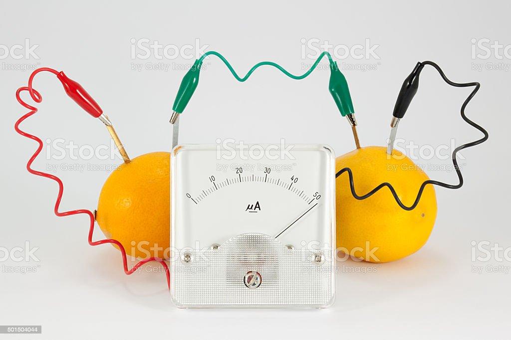 Lemon battery experiment stock photo