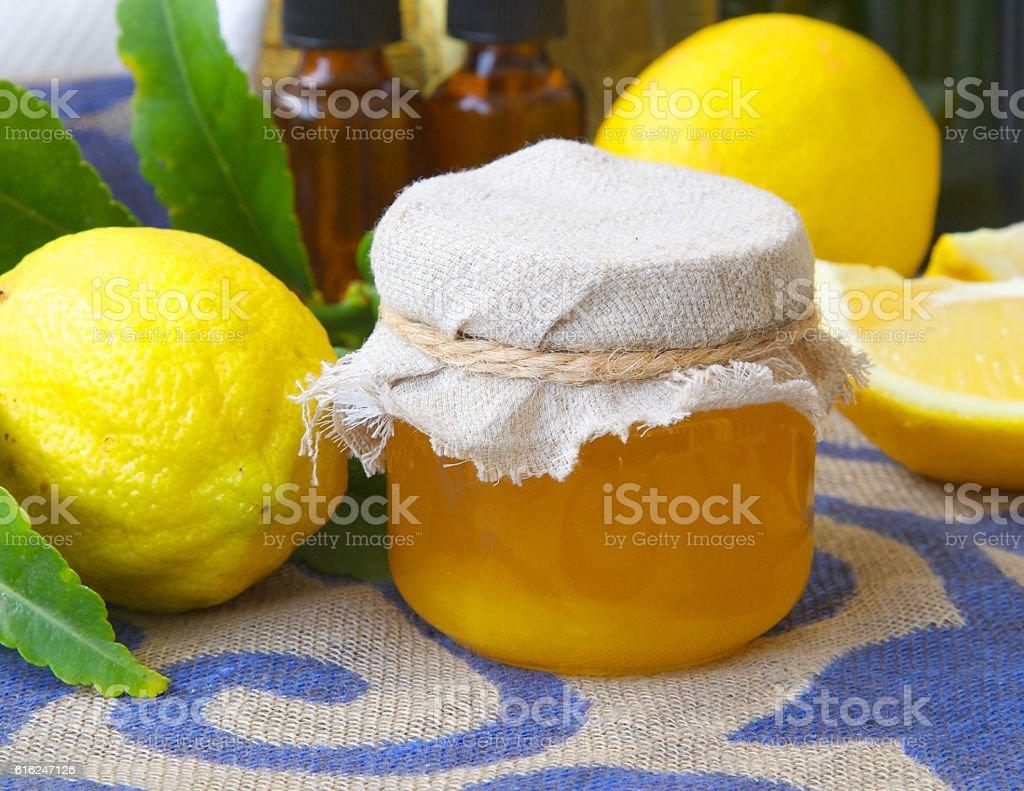 Lemon blossom honey stock photo