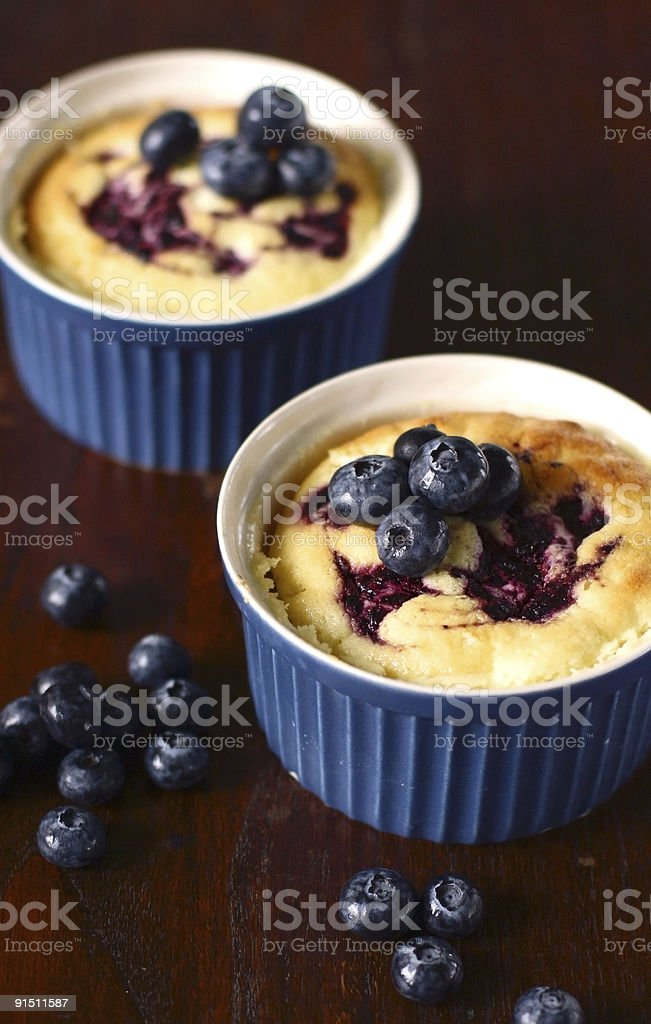 lemon blueberry pudding cake royalty-free stock photo