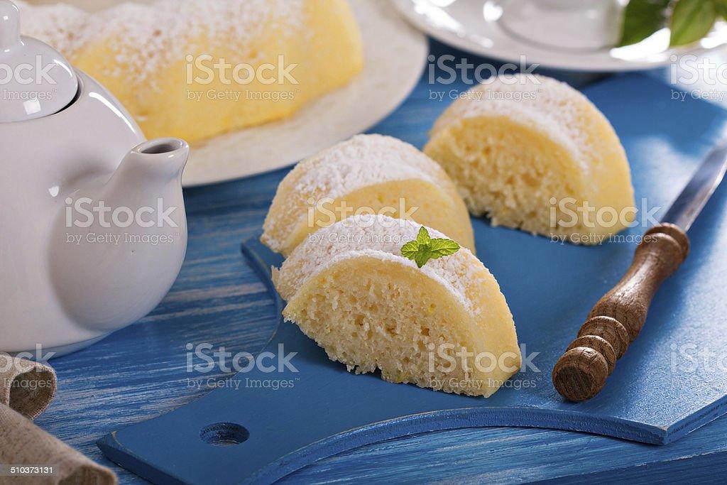 Lemon bundt cake with semolina stock photo