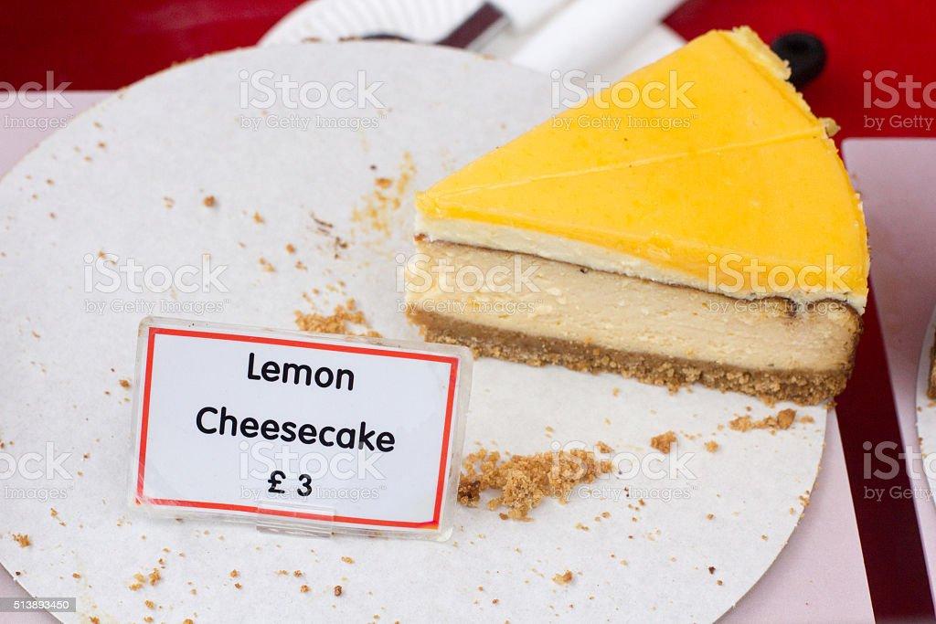 Lemon Cheesecake in Borough Market, London stock photo