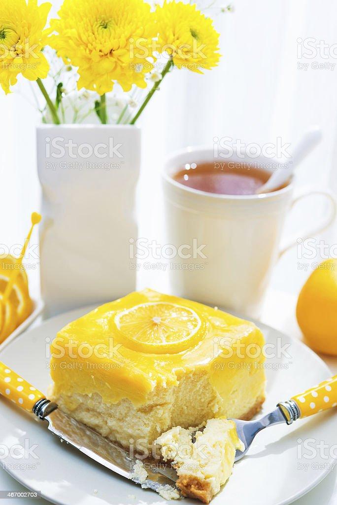 Lemon cheesecake slice stock photo