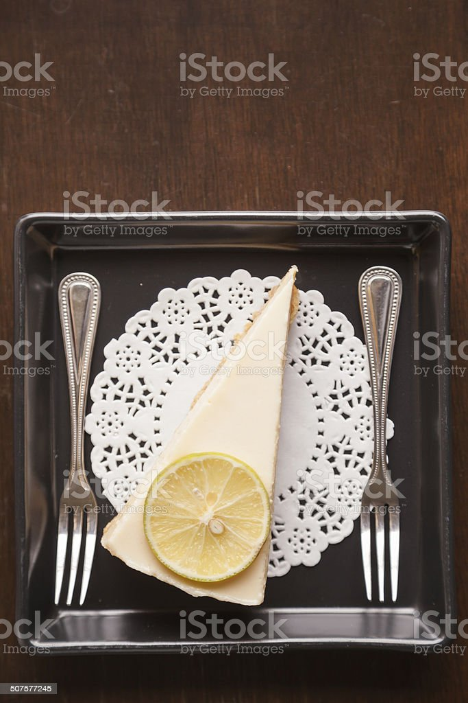 Lemon Cheesecake with Two Forks stock photo